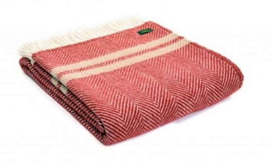 Fishbone Rust Red & Beige Wool Blanket / Throw